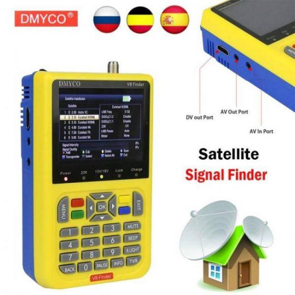 FREE SHIPPING DMYCO V8 Finder DVB-S2 DVB-S FTA Digital Satellite SatFinder Meter HD Satellite Finder Tool TFT LCD Sat Finder lnb Signal Meter [tag]