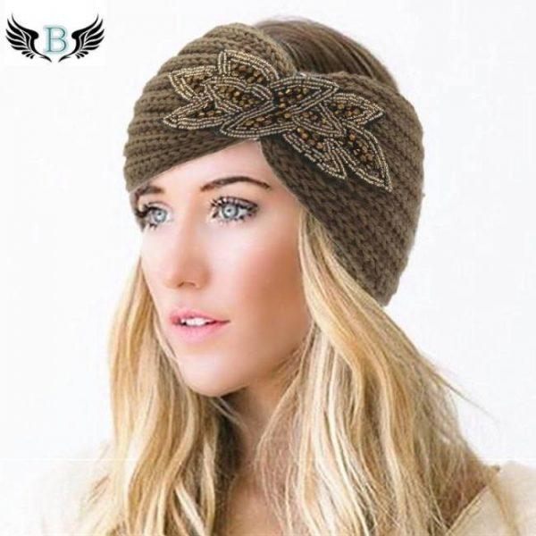 Women's beaded knitted wool headbands boho flower turban