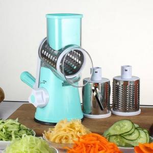 Manual vegetable cutter slicer shredder with 3 blades