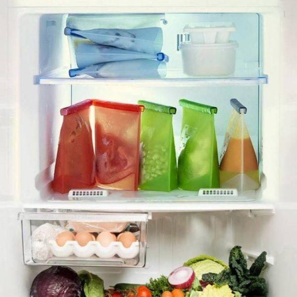 4pcs 1000ml kitchen reusable refrigerator fresh food sealing storage bags