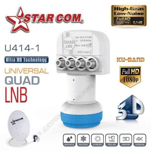 Universal quad lnb for satellite tv receiver ku band lnb for satellite tv box u414-1