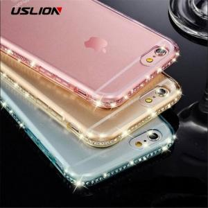 Diamond bling transparent soft tpu phone cases for iphone x xr xs max