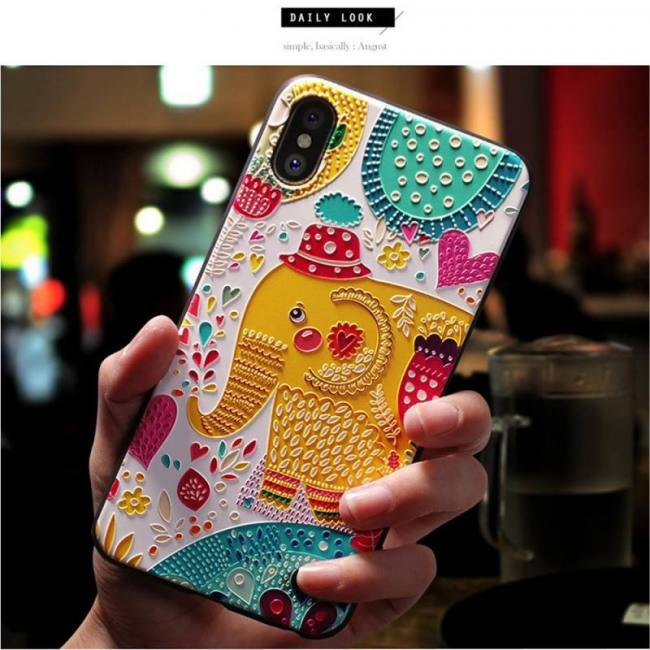 Soft silicone cover 3d emboss cartoon patterned phone case for iphone x iphone8 iphone7 iphone 6s plus
