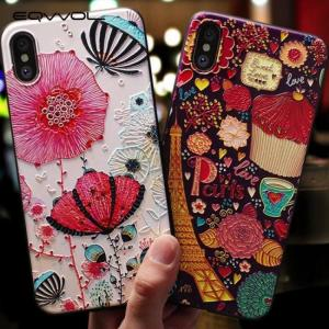 FREE SHIPPING Soft Silicone Cover 3D Emboss Cartoon Patterned Phone Case For iphone X iphone8 iphone7 iphone 6S Plus 3D