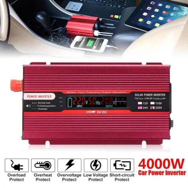 Voltage transformer peak 4000w 12/24v to ac 220/110v car power inverter usb modified sine wave converter multiple protect