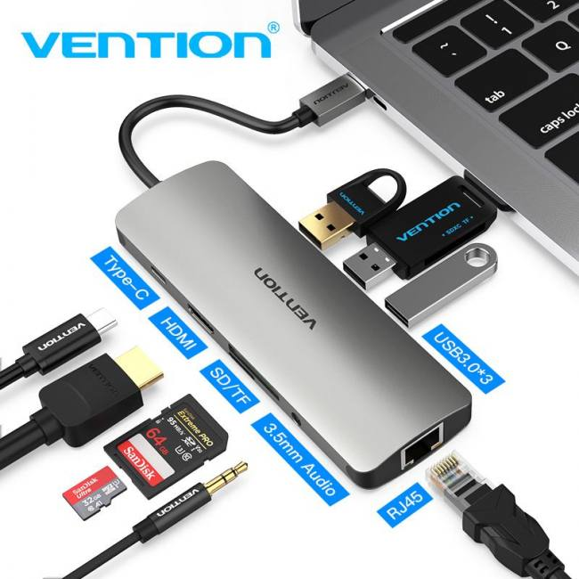 Vention Thunderbolt 3 Dock USB-C Hub Type C to HDMI USB 3 0 RJ45 Adapter