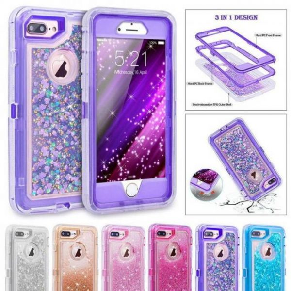 3d glitter shockproof phone cases for iphone8 plus iphonex dynamic quicksand covers
