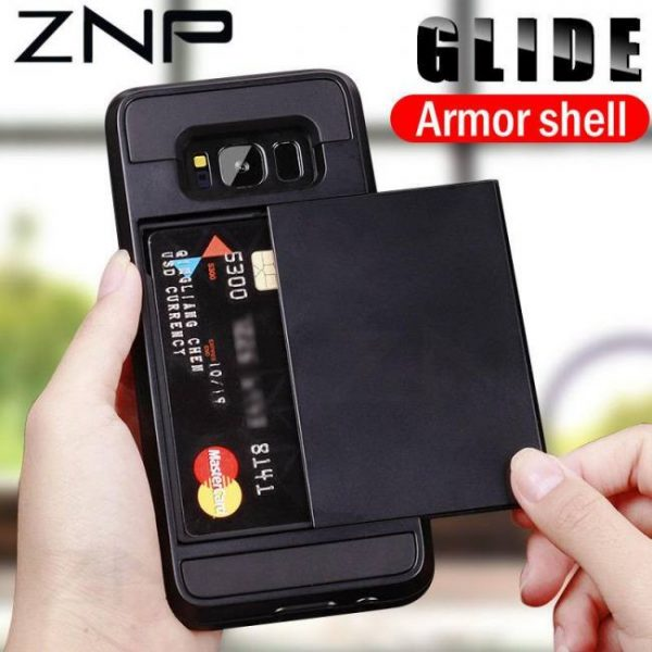 FREE SHIPPING Armor Slide Card Holder Phone Cases For Samsung GalaxyS9 GalaxyS8 Plus GalaxyS7 Samsung Note9 Note8 A7 8
