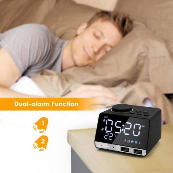 Bedroom Digital Alarm Clock with Bluetooth Radio Alarm Speaker LED Display Temperature Home Decoration Alarm