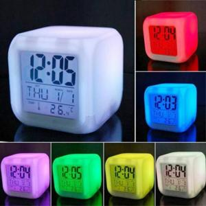 Bedroom Multifunction 7 Color Change LED Digital Alarm With Date Thermometer Cube Clock Night Glowing 7