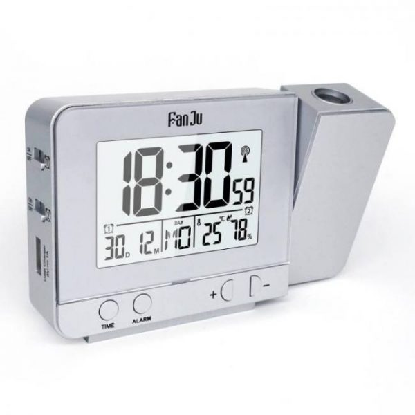 Bedroom Projection Alarm Clock with Temperature and Time Projection / USB Charger/ Indoor Temperature and Humidity Alarm