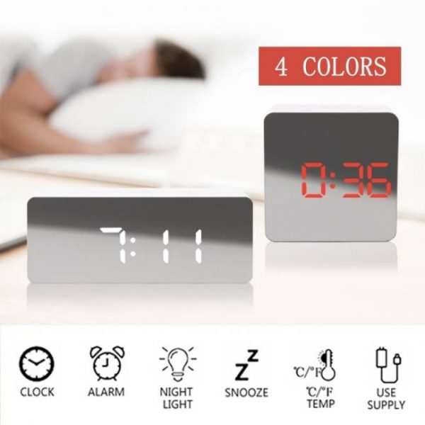 Digital mirror led alarm clock thermometer electronic table multi-function