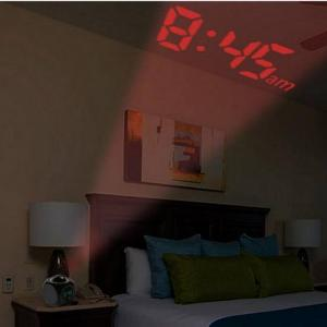 Bedroom Digital Clock with LED Display Projection Alarm Voice Report Alarm
