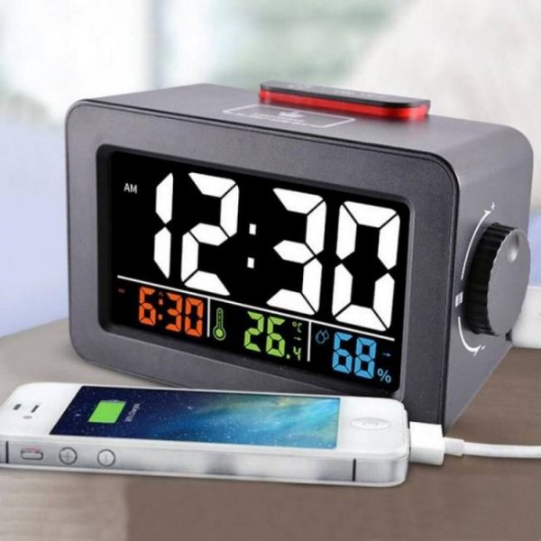 Digital alarm clock with thermometer hygrometer humidity temperature phone charger