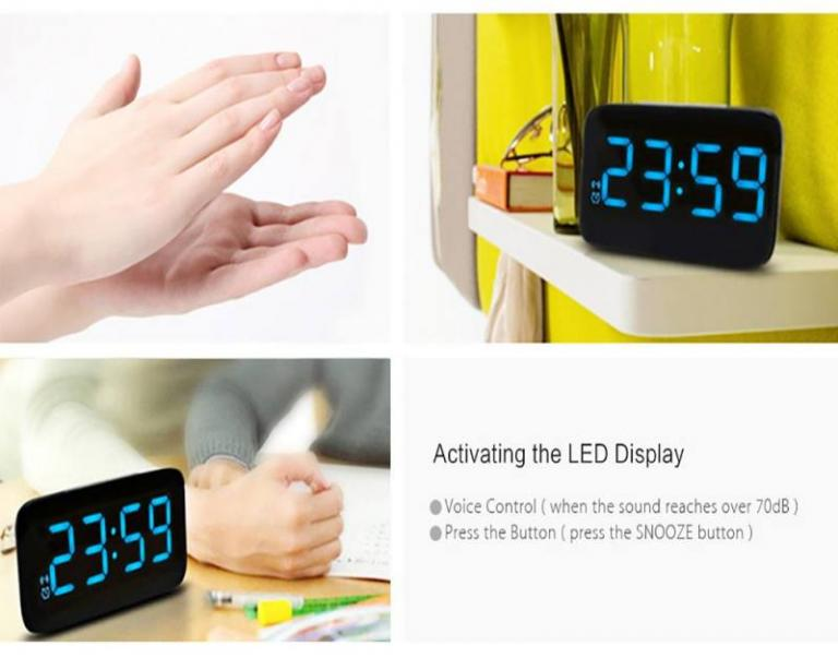 Digital led display alarm clock voice control electric watch usb charging cable