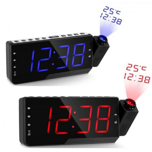 Clock Digital Radio Alarm Clock Snooze Timer Temperature LED Display USB Charge Cable 110