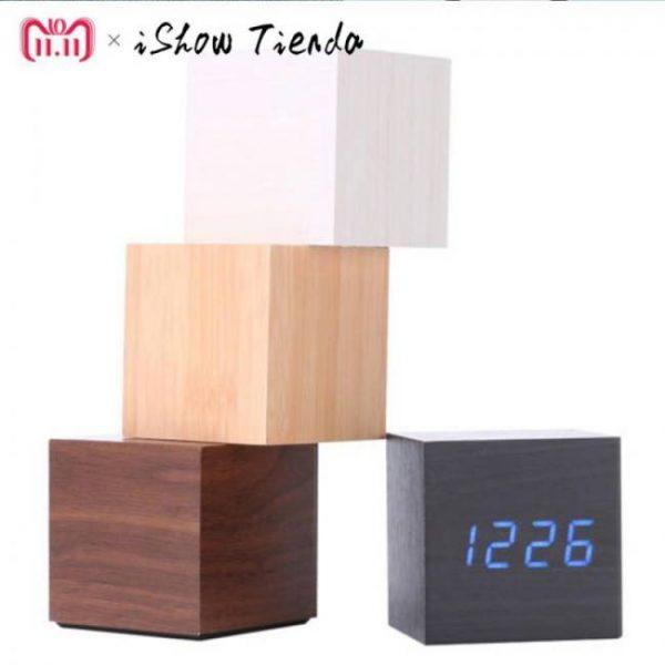 Multicolor wooden led digital desk clock alarm thermometer  decorative