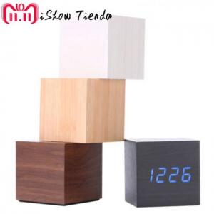 Multicolor wooden led digital desk clock alarm thermometer  decorative