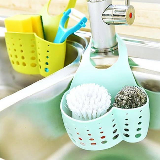Details about  /Bathroom Soap Drain Rack Drop Hanging Bags Storage Basket Sink Holder
