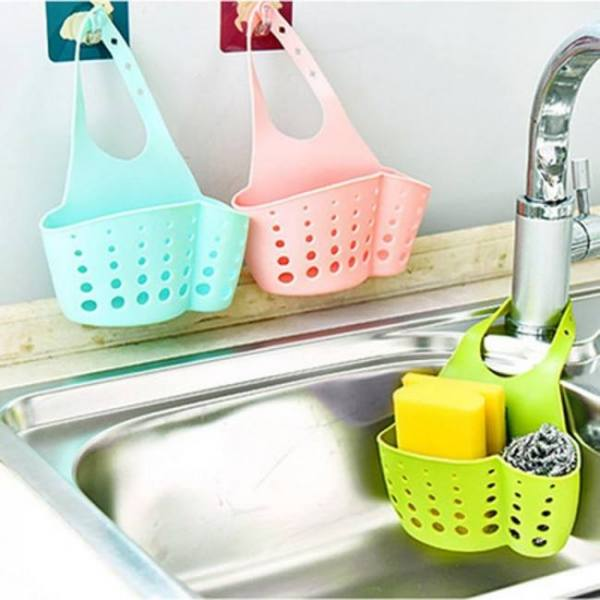 Drain bag basket for hanging soap dish cloth sponge sink kitchen accessories