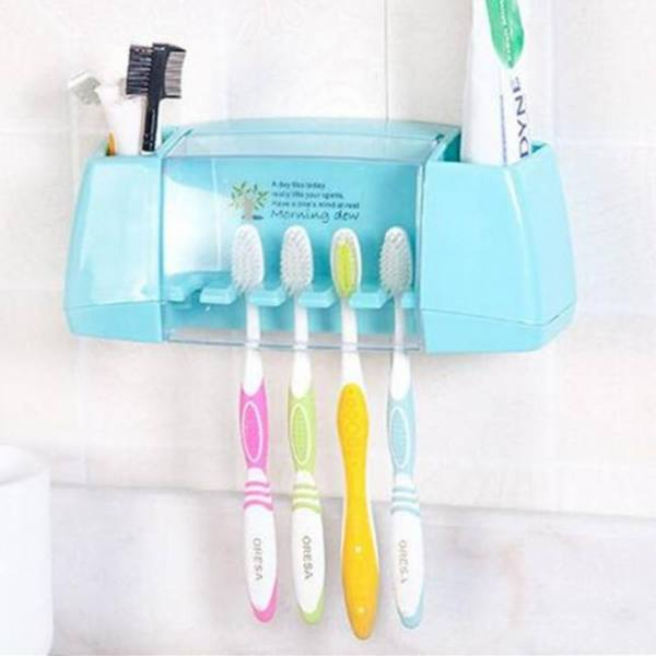 Baispo multifunctional toothbrush tooth brush holder storage box with suction hooks