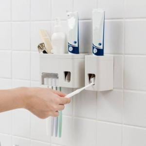 Wall mounted toothbrush holder automatic toothpaste dispenser