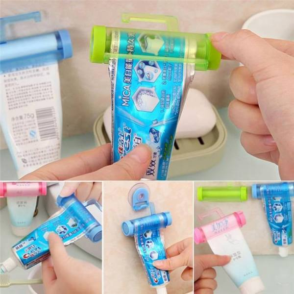Bathroom set accessories rolling tube toothpaste squeezer