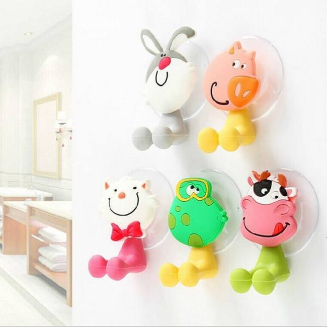 Hello kitty cartoon suction cup toothbrush holder bathroom accessories set 24 colors