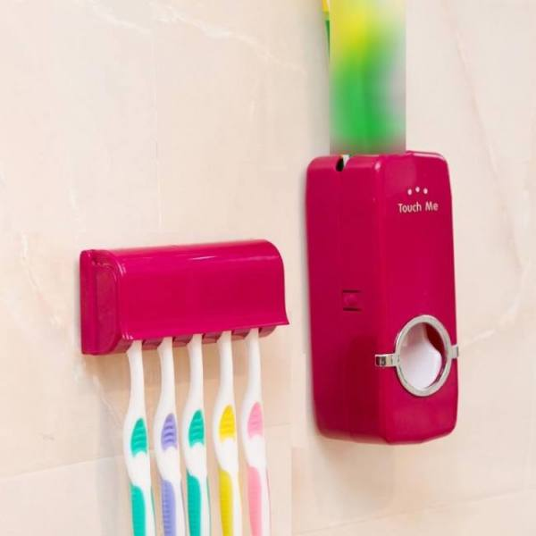 Bath Bathroom Accessories Set Tooth Brush Holder Automatic Toothpaste Dispenser Wall Mount Rack Accessories