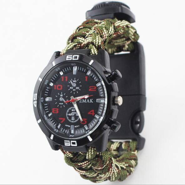 Survival watch for outdoor camping medical multi-functional with compass thermometer rescue paracord