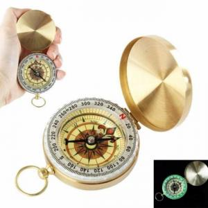 Luminous camping pocket compass which is plated with copper glow in the dark survival gear can be used for hiking climbing travel