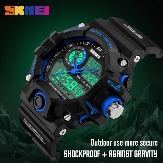 Men dual display wristwatches 50m waterproof outdoor sport watch chronograph shock resistant