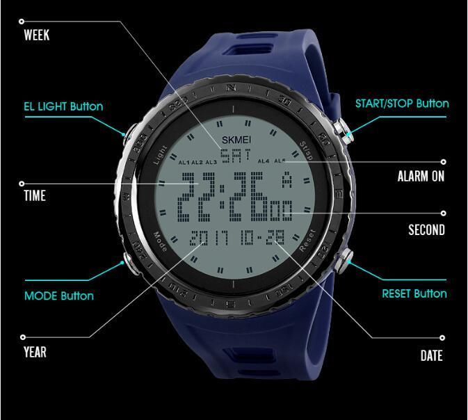 Men fashion sport watch led digital 50m waterproof swim underwater sports outdoor