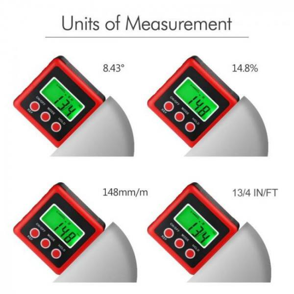 Compass Red Precision Digital Protractor Inclinometer with Magnet Base accurate