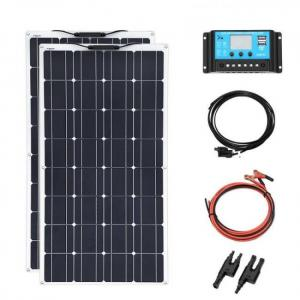 200w mono-crystalline solar panels diy with 20a charger controller 12v or 24v and cables kit