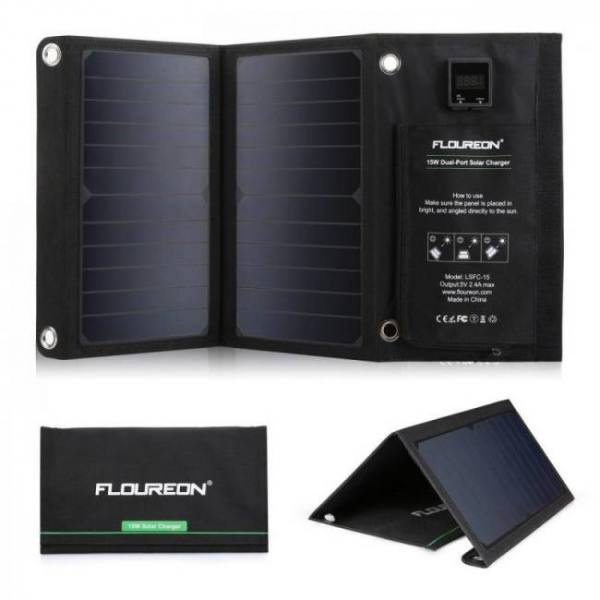 Backpacks 15W Waterproof Solar Panel Charger Mobile Power Bank for Smartphones Tablets Dual USB Ports Outdoor [tag]