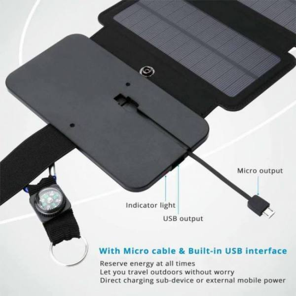 Camp & Survive Portable Folding 10W Solar Panels Charger for Outdoors angle