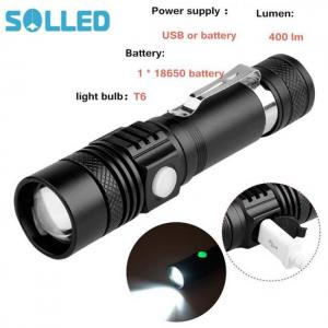 Powerful aluminum alloy 400 lumen usb rechargeable flashlight