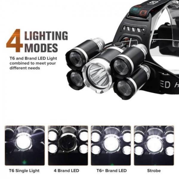 50k lumens t6 led head lamp fishing flashlight torch