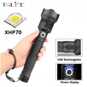 Biking XHP70 / XHP50  LED Torch Aluminum alloy Zoomable Tactical Defense Flashlight Battery