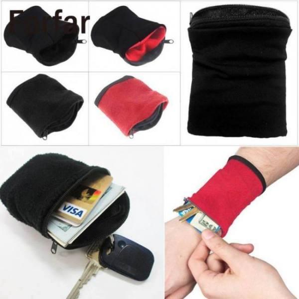 High quality wrist wallet pouch fleece zipper outdoor camping tool