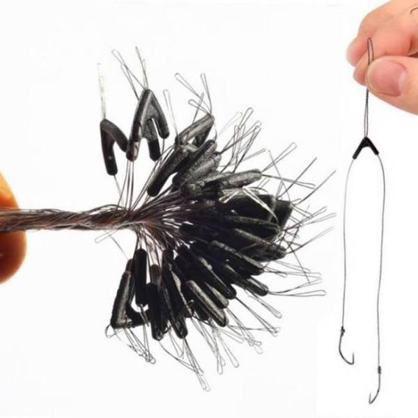 50pcs double hooks contactor device fishing line swivel tying tool
