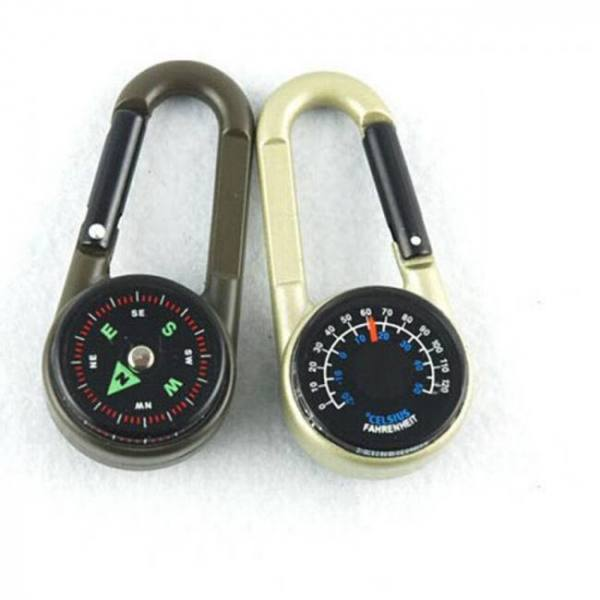 Keychain multifunctional hiking metal carabiner and mini compass thermometer