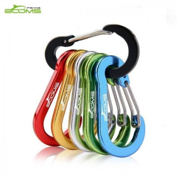 Backpacks Booms Fishing CC1 6Pcs Aluminum Alloy Carabiner Keychain Outdoor Camping Climbing Snap Clip Lock Buckle Hook Fishing Tool 6Color Alloy