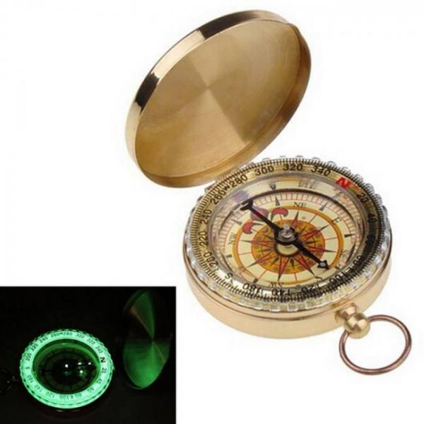 Camp & Survive Outdoor Camping Portable Brass Pocket Golden Double Display Compass angle