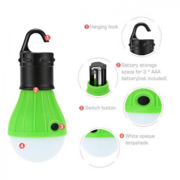 Camp & Survive Outdoor Camping Tent Accessory Lamp Tent Light Bulb Hanging 3LED Night Light Mini Portable Travel Tools backpack