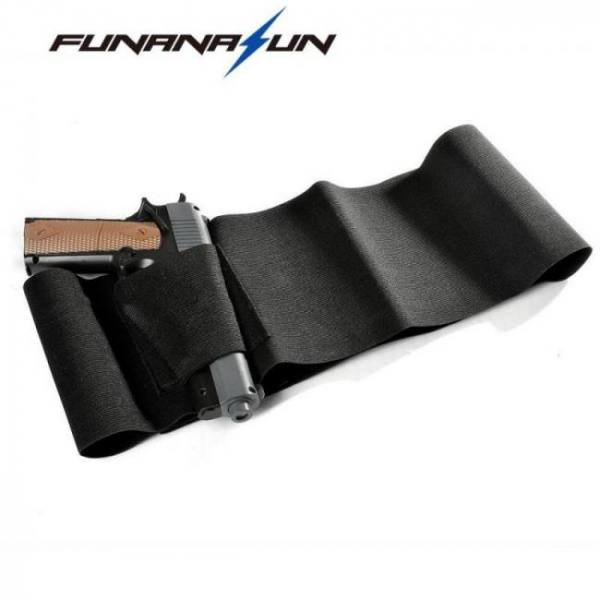 37″ adjustable tactical elastic belly gun 2 magazine pouches concealed carry universal pistol waist band holster