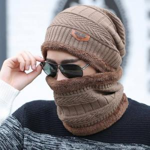 2pcs ski cap and scarf cold warm weather winter hat for women men
