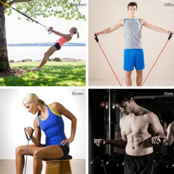 48″ yoga elastic resistance fitness workout exercise band pull rope