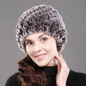 Lady warm winter natural real rex rabbit fur hat girl